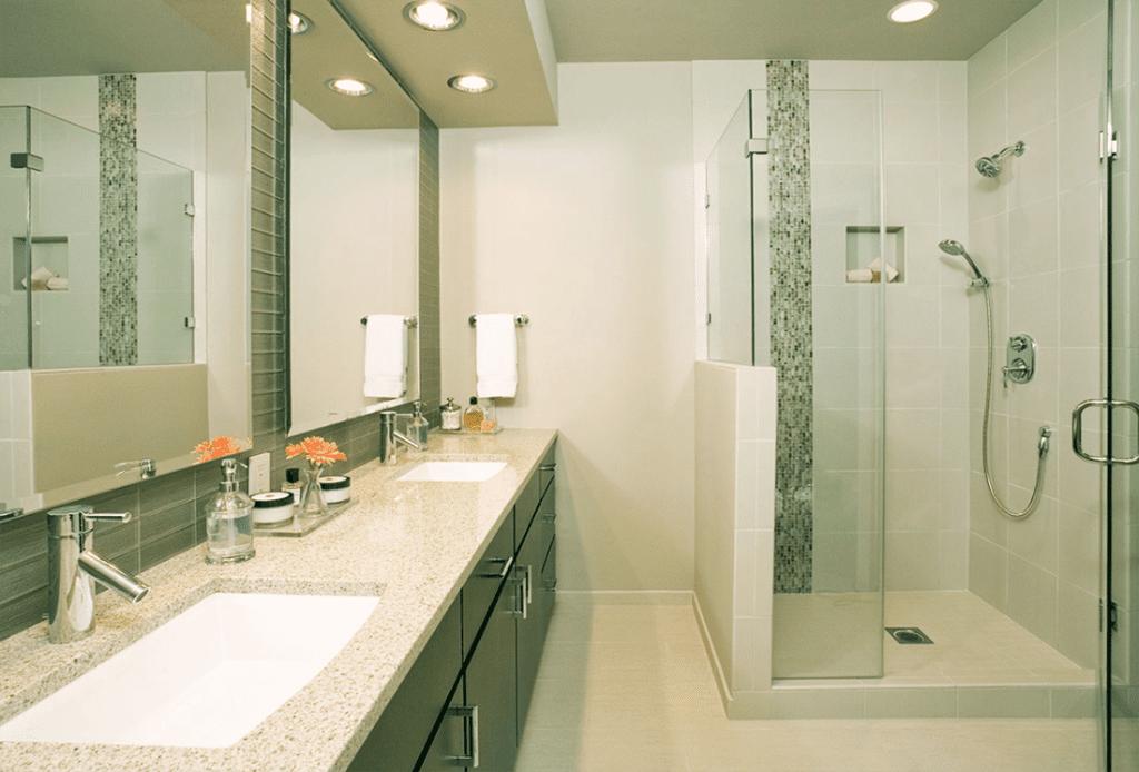 pental quartz bathroom vanity and shower enclosure remodel 1024x694